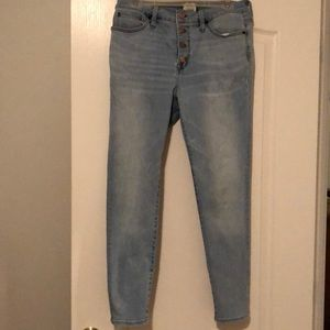 J Crew button fly light denim jeans
